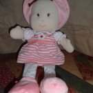 Prestige Baby Pink White Flower Stripes Doll with Hat Plush Soft Toy 13""
