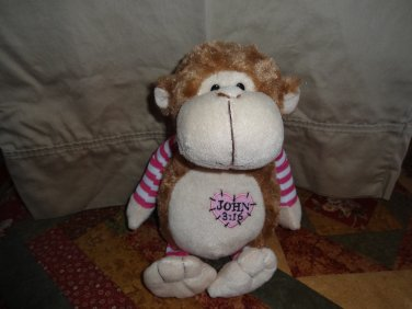 Fiesta Plush Light Brown Monkey W/ John 3:16 Heart Emblem 12""