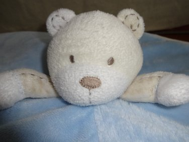 Carters Sweet Baby Boy Teddy Bear Security Blanket Blue White Rattle Satin