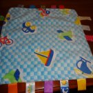 Taggies Security Blanket Blue Car Plane Boat Train Bike Truck