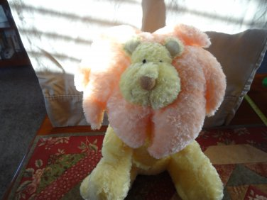 "Russ Leon Lion Orange Yellow 12"" Plush Rattle Stuffed Animal Baby Toy"