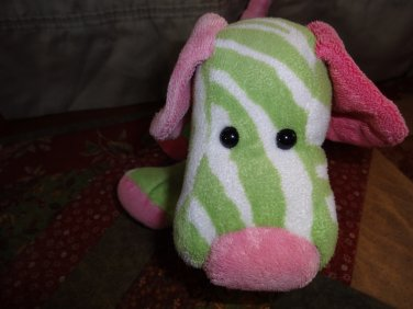 "9"" Douglas Cuddle Toy Puppy Dog with Green Stripes and Pink Accents"
