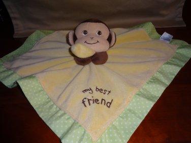 Garanimals Yellow Green My Best Friend Brown Monkey Security Blanket Lovey Baby