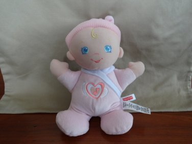 """Fisher Price Baby Doll Pink Blue Eyes Giggles Coos Laughs Sound Plush 10"""" Toy"""