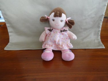"Garanimals 10"" Baby Doll Brunette Pigtails Brown Hair Girl Polka Dots Rattle"