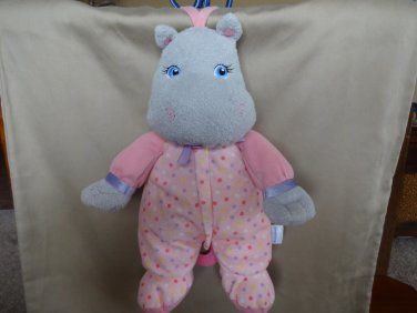 Garanimals Musical Plush Hippo Lovey Crib Toy Pink Dots Go To Sleep Little Baby