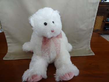 TY 2004 Beanie Buddies Fluffy White Pink Teddy Bear with Bow