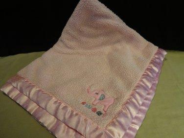 Child of Mine Carter's Pink Blanket Baby Sweet Elephant Polka Dot Satin Trim