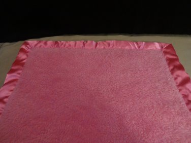 Elegant Baby Girls Hot Pink Square Baby Security Blanket Satin Plush Soft