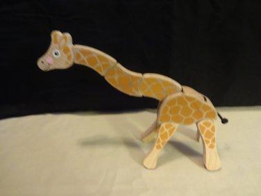 "Melissa And Doug 10"" Wooden Wood Poseable Giraffe Zoo Safari Animal Kid's Toy"