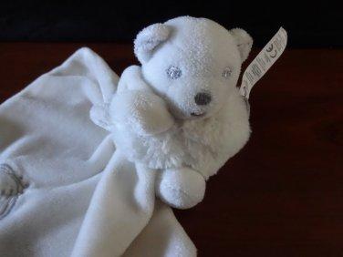 Kaloo Security Blanket White Fleece  Teddy Bear Holding Baby Lovey