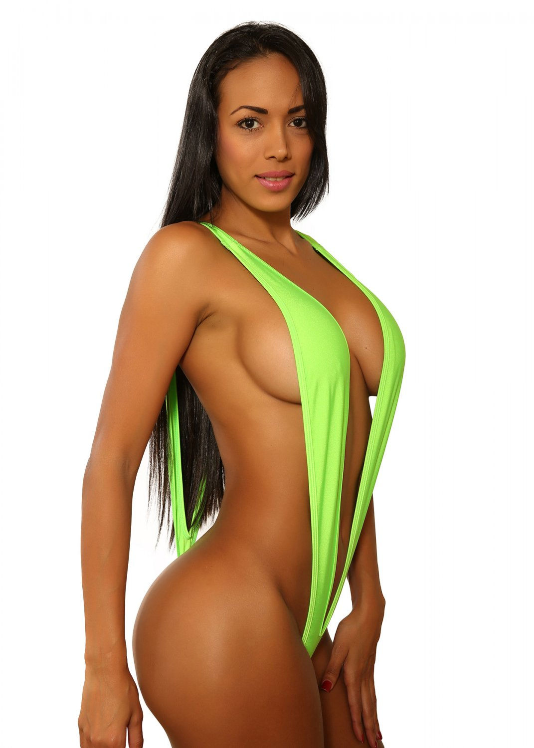 Neon Green Naked Sling Shot Bikini-Swimwear