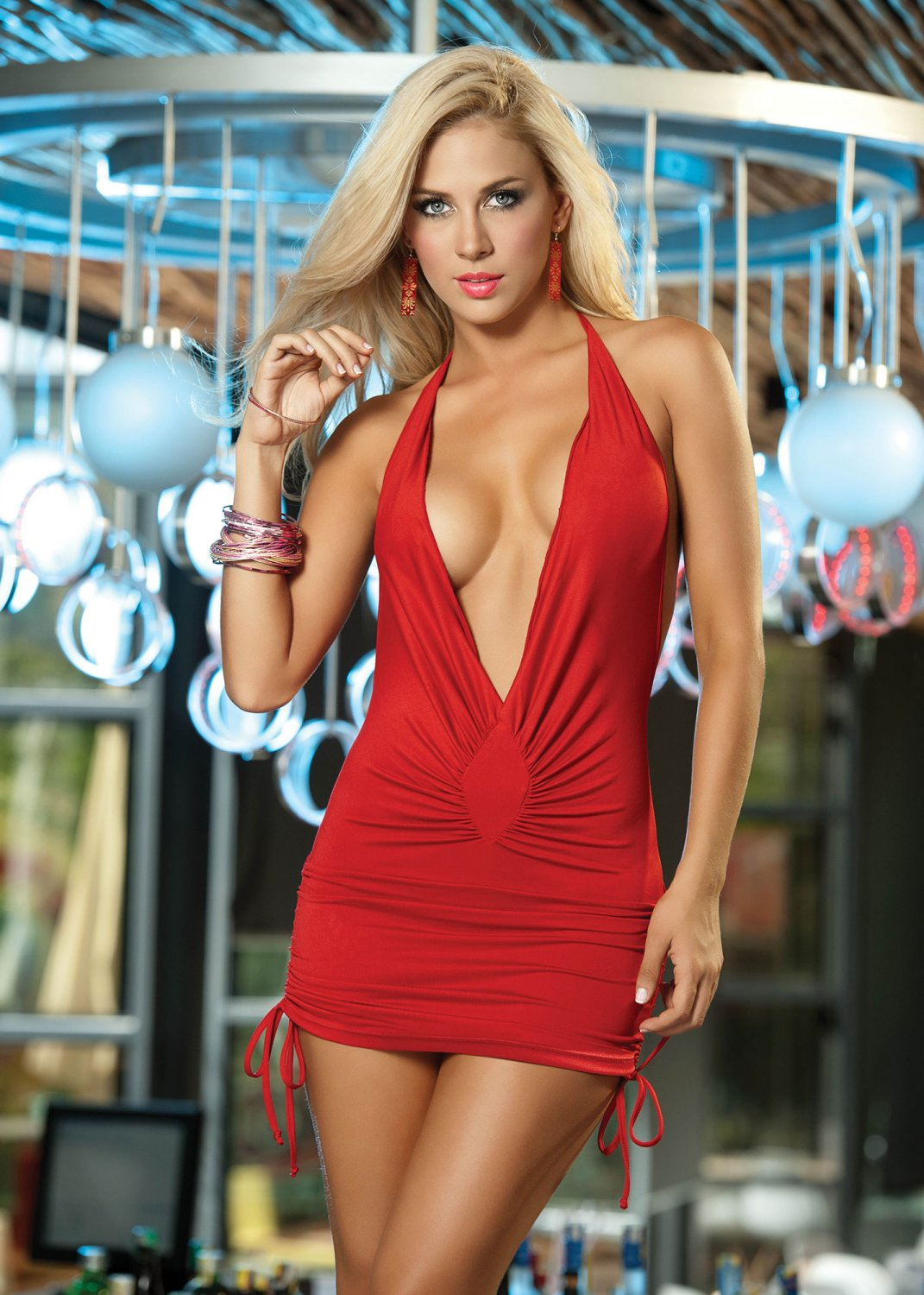 Red Sassy Halter Mini Dress-Summer Dresses