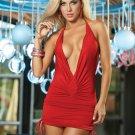 Red Sassy Halter Mini Dress-Summer Dresses