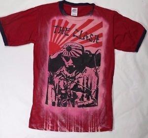 The Clash band rare ***SMALL*** artful screen printed t-shirt burgundy bleached