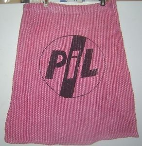 A-line stretch mini skirt printed with PIL band logo Black on Pink size ~M