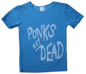 Punk's Not Dead album, Exploited band stretch t-shirt women's M-L Blue