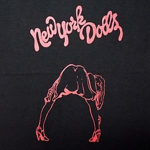 New York Dolls band ***MEDIUM*** screen printed t-shirt Red on Black punk retro