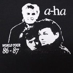 A-Ha band ***SMALL*** screen printed t-shirt Black aha
