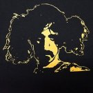 Frank Zappa in Pigtails ***SMALL*** t-shirt Yellow on Black punk retro