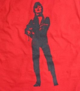 David Bowie ***LARGE*** screen printed t-shirt Red on Black punk retro