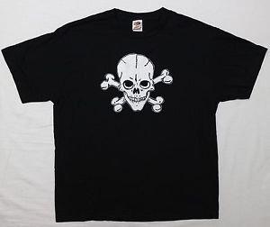 Skull & Bones Gothic ***LARGE*** screen printed t-shirt Black goth