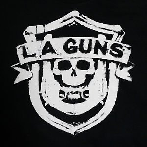 LA Guns band Logo ***MEDIUM*** screen printed t-shirt Black retro