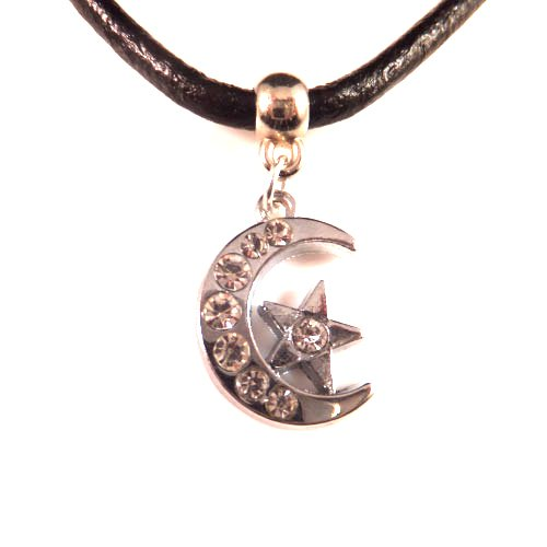 3mm Black Leather Choker Necklace With a Moon & Star Charm Pendant