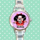 cute mafalda pasta basta round charm watches stainless steel