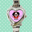 cute mafalda pasta basta heart charm watches stainless steel