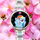 cute little pony friendship is magic rainbow dash round charm watches stainless steel