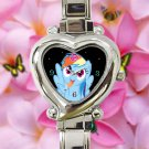 cute little pony friendship is magic rainbow dash heart charm watches stainless steel