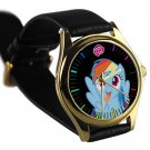 cool little pony friendship is magic rainbow dash leather gold Wristwatches