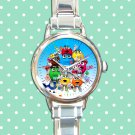 cute M&M's Wrapper candy round charm watches stainless steel