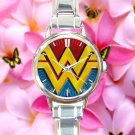 cute Wonder Woman Costume DC logo round charm watches stainless steel