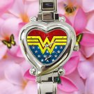 cute Wonder Woman Costume DC logo heart charm watches stainless steel