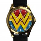 cool Wonder Woman Costume DC logo leather gold Wristwatches