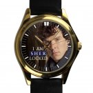 cool benedict cumberbatch sherlock 221B holmes leather gold Wristwatches