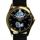 cool star wars master DJ trance yoda leather gold Wristwatches