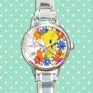 cute tweety bird flower round charm watches stainless steel