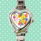 cute tweety bird flower heart charm watches stainless steel