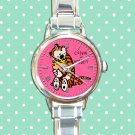 cute calvin and hobbes hug love round charm watches stainless steel