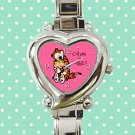 cute calvin and hobbes hug love heart charm watches stainless steel