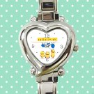cute minions kevin bob and stuart first denim heart charm watches stainless steel