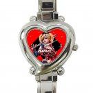 cute harley quinn batman heart charm watches stainless steel