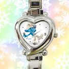 cute smurf clumsy heart charm watches stainless steel