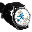 cool smurf clumsy leather silver Wristwatches