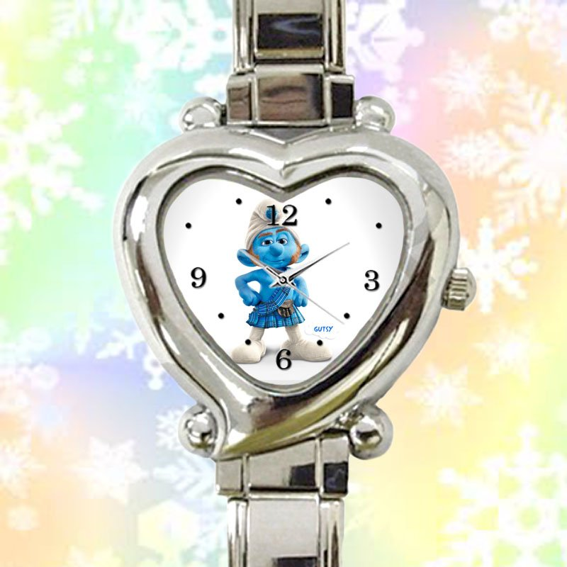 cute smurf gutsy heart charm watches stainless steel