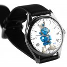 cool smurf gutsy leather silver Wristwatches