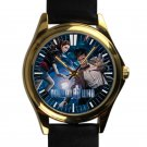 cool dr who police call box tardis leather gold Wristwatches